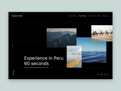 Explore365 - Travel blog  blog content user experience minimal website design black and white dark color scheme simple clean interface visual design design screen ui ux bootstrap grid layout clean web design minimal traveling blog