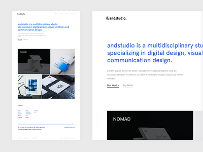 &andstudio homepage casestudy layout minimal web design reponsive layout grid ux ui portfolio design web service design mobile experience branding agency web design grid layout bootstrap layout user interface design clean interface
