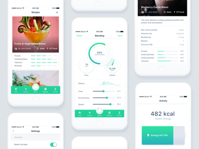 Millo app settings user profile kcal energy battery activity blender app design mobile app native ios app minimal clean design calories fats vitamins stats layout design mobile application user interface ui ux