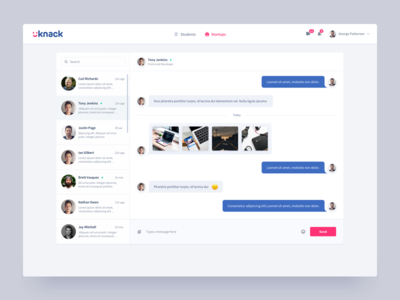 Uknack Jobs Platform Chat careers network product design grid layout responsive bootstrap visual user interface design user experience clean minimal dashboard design ui ux hiring employee startup ecosystem jobs finder student platform chat