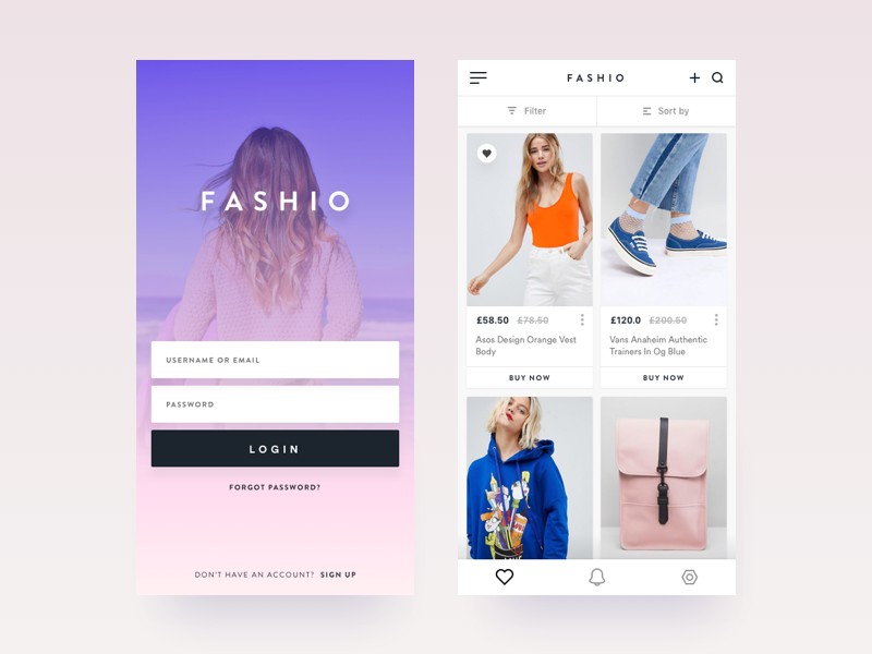 Fashio App - Login and Products Page iphone x product list login screen clothing store ios fashion app ecommerce shop ui ux minimal interface fashion application card product ecommerce clean app design