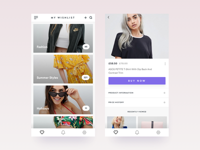 Fashio App - Wishlist and Product Page clean app design card product ecommerce fashion application minimal interface ui ux ecommerce shop ios fashion app clothing store login screen product list iphone x