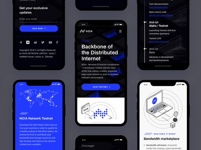 NOIA - Mobile ico landing page minimal clean design blockchain website ui ux decentralized network content delivery internet ico dark landing page ui token site cryptocurrency crypto bitcoin