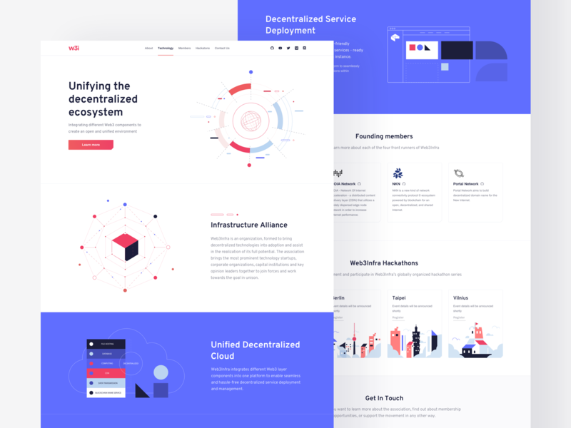 Web3Infra Landing Page ecosystem decentralized cloud responsive grid layout website illustration product design landing page blockchain website cryptocurrency crypto grid layout minimal clean design ui ux