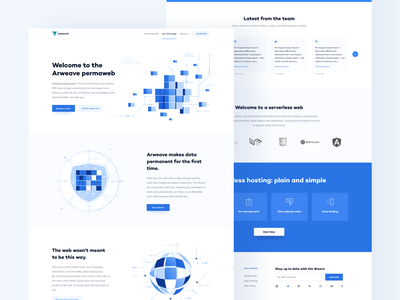 Arweave - Landing minimal clean design blockchain website ui ux decentralized network content delivery dark landing page ui cryptocurrency crypto bitcoin data storage security hosting platform serverless hosting
