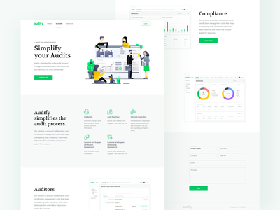 Audify - Landing Page data collection certification management customer supplier management collaborate platform audit process b2b software company minimal clean design product design ui ux analytics dashboard
