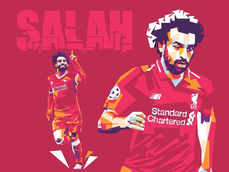 Mohamed Salah On Wpap inggris salah liverpool design player poster art illustration wpap football portait pop art