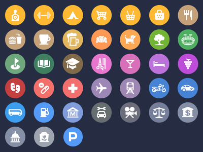 Apple's iOS 8 Spotlight Map Category Icons ios iphone ipad mobile maps icons