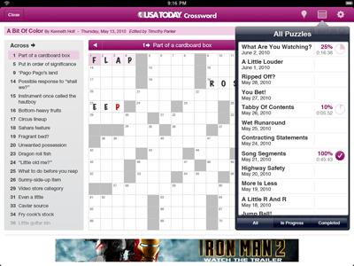 USA TODAY iPad Crossword ipad usatoday crossword puzzle game ui