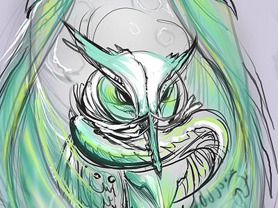 start of dragonowl.. owl dragon guardian movie inspired fracturize wacomized digitized