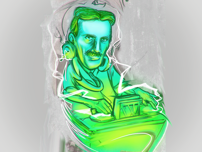 Tesla electro djing mode XD daily sketch by fracturize custom design custom illustration custom apparel design djing dj electro electronica tesla