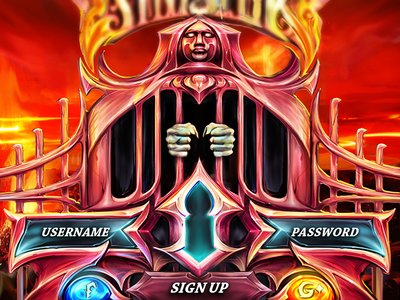 Login / Signup screen for mobile game by fracturize lava fire hell torture mask custom design custom illustration signup login fracturize illustration mobile game