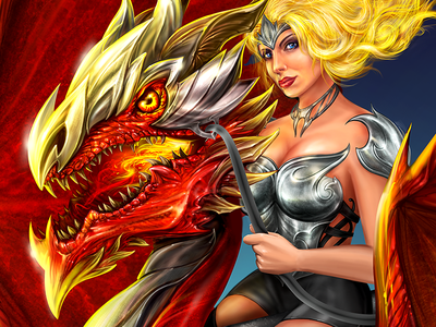 Dragon   Fracturize   Dragonrider   Lady   Illustration   Fra red fantasy custom illustration montenegro blonde sexy girl armor dragon illustration fracturize