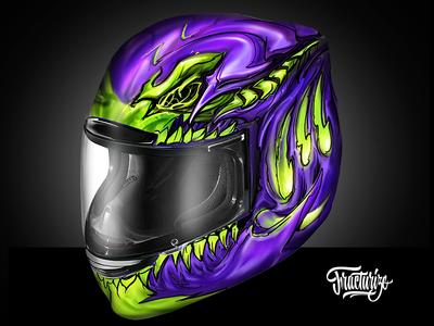 Motorcycle Helmet custom paint wip by fracturize