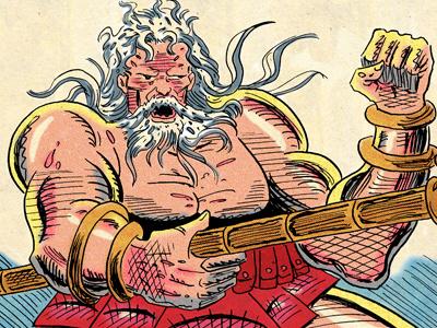 Poseidon, God of the Sea homer cartooning
