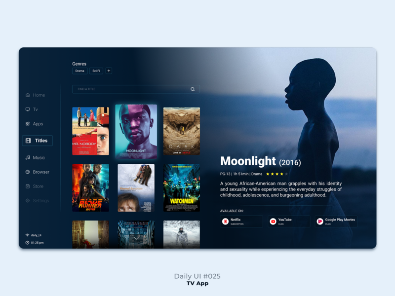 Daily UI #024 - TV App icon ux app daily ui figma tv movie ui graphic design dailyui design