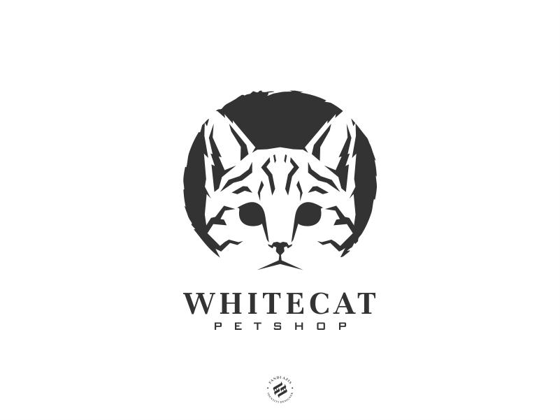 Whitecat pet cat identity logo design bold animal logo branding illustration logo