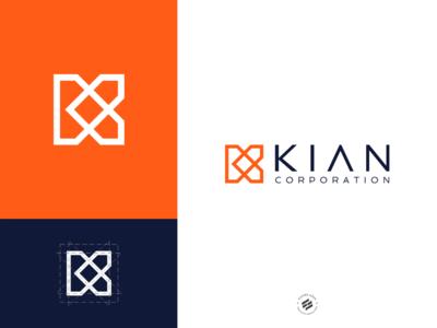 Logo for KIAN CORPORATION geometic clean simple logo brand identity logo design design branding identity
