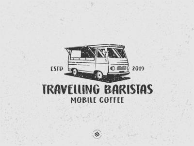 Travelling Baristas illustration logo design classic car organic mobile cafe cafe truck food truck vintage
