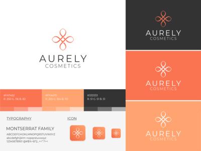 Aurely Cosmetics logo design feminine design cosmetics brand identity branding identity