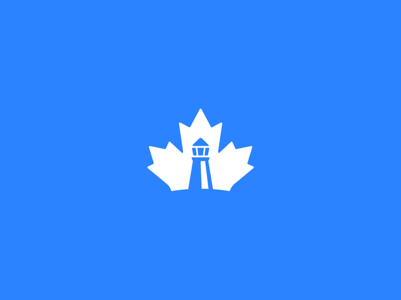 Maple & Lighthouse Concept maple leaf blue leaf blue maple blue lighthouse migration immigration company construction immigration cove coast negative space leaf logo maple logo maple canada canada maple lighthouse logo lighthouse blue logo logo
