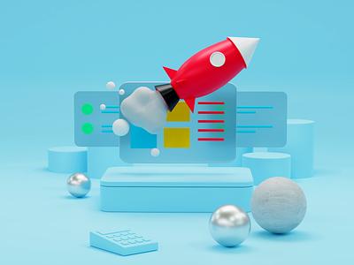3D illustration for Contento 3d illustration branding blendercycles blue minimal rccket 3d rocket illustration blender3d blender 3d
