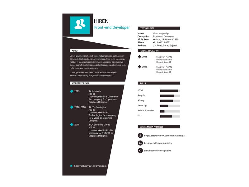 Next Generation Resume cv design resume design
