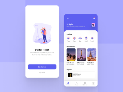 Travel App Exploration uidesign traveling purple ticket travel travel app ticket app design app illustration user interface ui mobile app