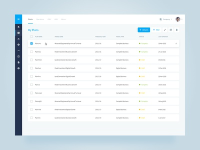 EngineRoom Dashboard – My Plans business intelligence dashboard analytics charts clean simple blue ui user interface data app web