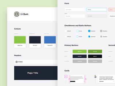 GitSum UI Style Guide kit elements ui typography style design interface guidelines guide palette colors