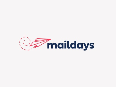 Maildays logo proposal app mail plane monterrey mexico blue red