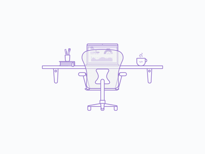 Developer Desk mexico sketch purple line flat illustration