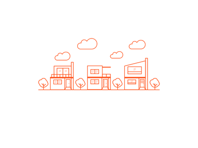 Neighborhood orange house mexico sketch line flat illustration
