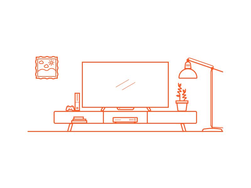 Tv Center2 sketch xbox tv invictus mexico orange illustration line