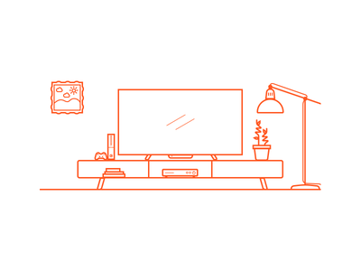 Tv Center2 sketch xbox tv invictus mexico orange illustration line