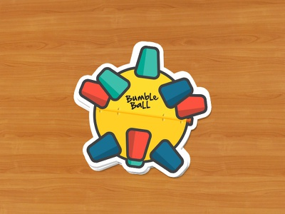Bumble Ball for Sticker Mule bumble sticker retro ball vector illustration