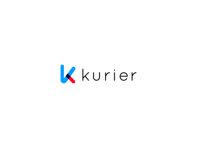 Kurier Logo proposal blue red k app shipping courier logo