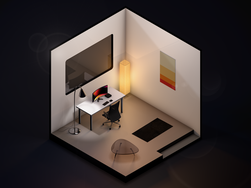 Isometric Room room 3d render isometric