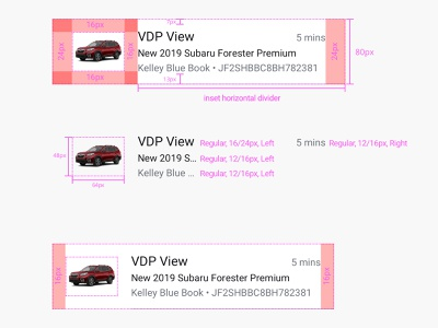 Redline Specimen: Vehicle Row documentation design system ui ux
