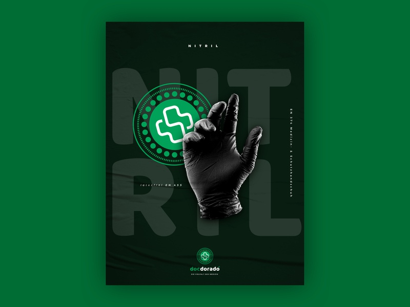 docdorado - gloves poster poster gloves medical nice black clean typography branding brand logo design