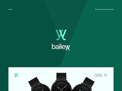 bailey - for the sake of time webdesign website green brand design watch typography ux ui branding brand logo design