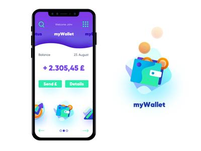 """myWallet"" clean interface illustration ux ui branding brand digital purple banking app ios wallet app concept design concept"