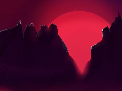 reD SunSet art illustration mountin sunset sun red