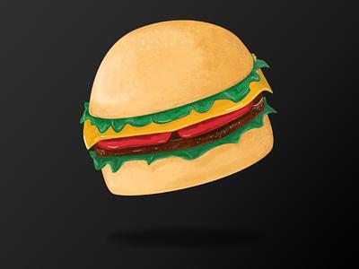 my little buger burger illustration pizza black