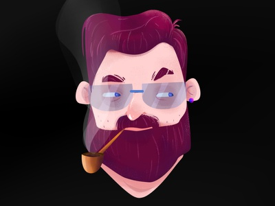 a man smoking smoke vector art illustration face illustrator character man