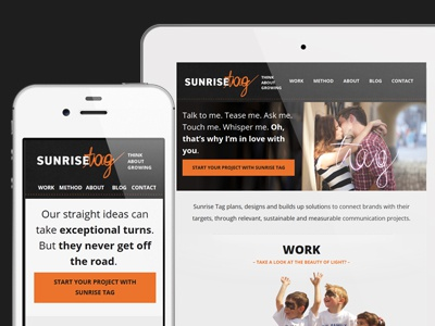 Sunrise Tag website responsive orange black events
