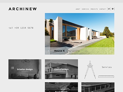 Archinew architecture responsive navigation ui ux white minimal