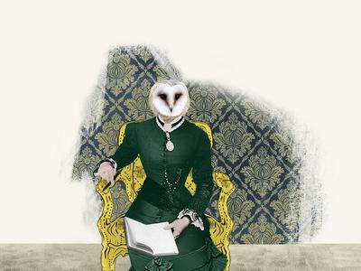 Owl chair owl web design collage illustration