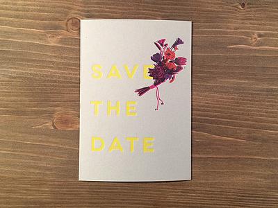 Wedding Invitation print bouquet yellow pop wedding invitation postcard letterpress