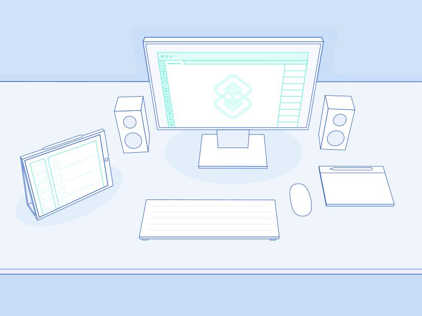 Setup desktop setup illustration vector art